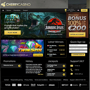 Cherry Casino | Deposit €20, spin bonus wheel & get up to 200 free spins