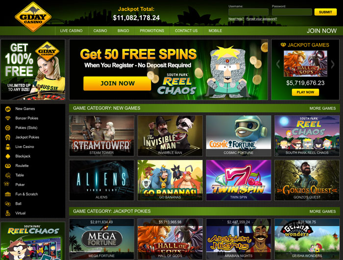 50 free spins gday casino