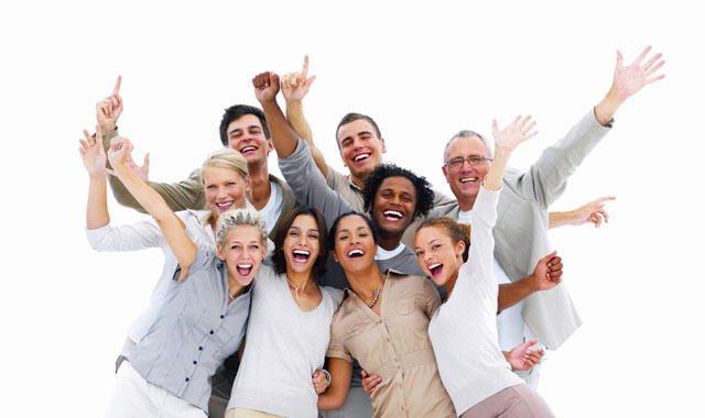 Happy business people laughing against white background