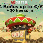 Monday Free Spins at Guts Casino Offers 40% Bonus & 30 Free Spins with no wagering requirements.