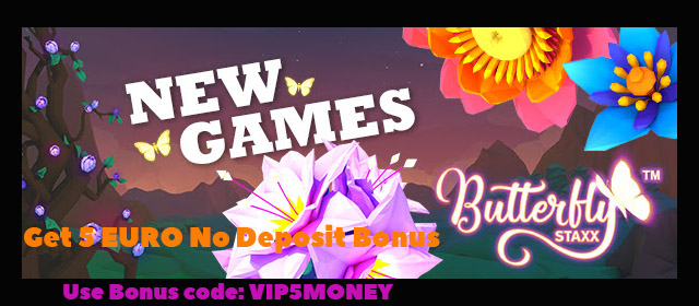 VIPStakes 5 EURO No Deposit Bonus On Butterfly Staxx Slot Until 3 July 2017