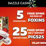 Limited offer! February 2018 No Deposit Free Spins now available at Dazzle and Glimmer Casinos